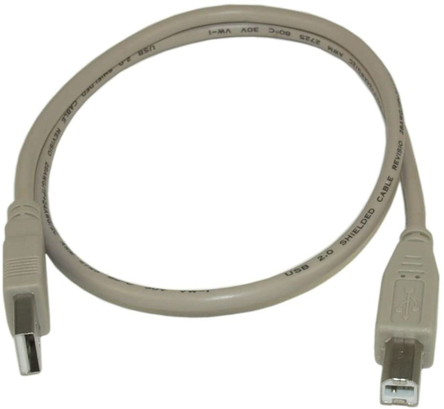 MyCableMart 2ft USB 2.0 Certified 480Mbps Type A Male to B Male Cable, Beige
