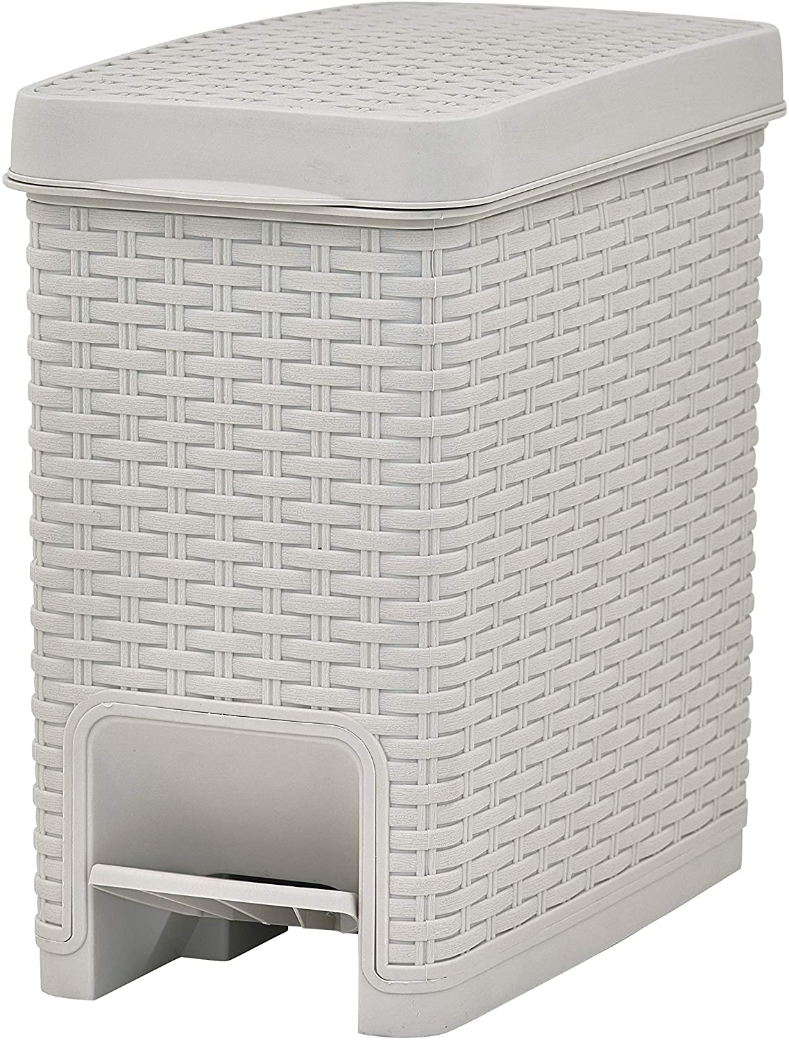 Superio Slim Trash Can Rattan Style 6.5 Qt. Beige, Step On Pedal Trash Can with Lid Slim Size