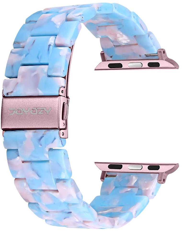 Joyozy Resin Apple Watch Band - Fashion iWatch Strap Bracelet Compatible with Copper Stainless Steel Buckle for Apple Watch Series 5 Series 4 Series 3 Series 2 Series1 Wristband- (42mm/44mm, Sky Blue)