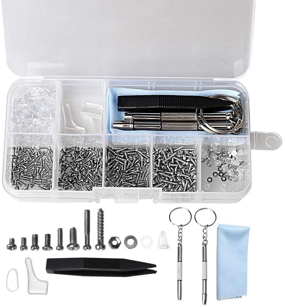 FASHIONROAD Eyeglasses Repair Kit, 10 Pairs Screws Nose Pads, Tiny Screws with Micro Screwdriver Tweezer for Glasses,Sunglasses, Watch Repair