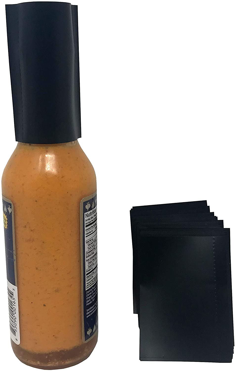 45 x 62 mm Matte Black Perforated Shrink Band for Hot Sauce Bottles and Other Liquid Bottles Fits 3/4