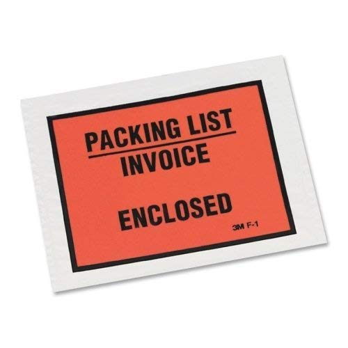 Wholesale CASE of 5 - 3M Full Print Packing List Envelopes-Packing List Envelope, Back-loading, 5-1/2