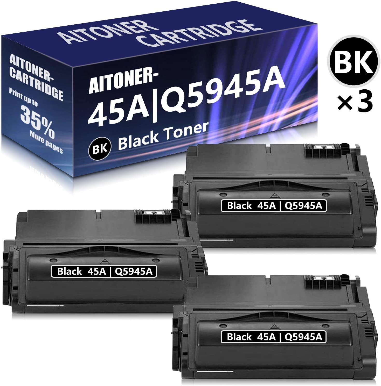 3 Pack Black Compatible for HP 45A | Q5945A Toner Cartridge Replacement for HP Laserjet 4350DTN 4345MFP 4200 4200N 4300 4300N 4300TN 4300DTN 4240 4250 4250N 4350 4350N 4350TN Printer Toner Cartridge.