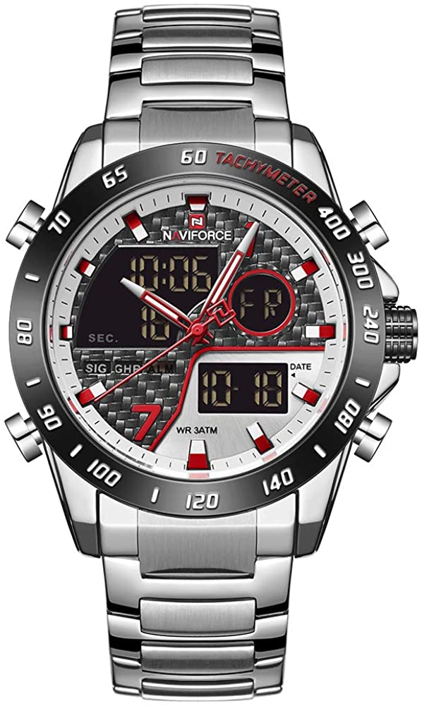 Naviforce Mens Wrist Watch Multifunction Military Watches with LED Backlight Waterproof Analog Quartz Watch Stainless Steel Sport Watches for Men