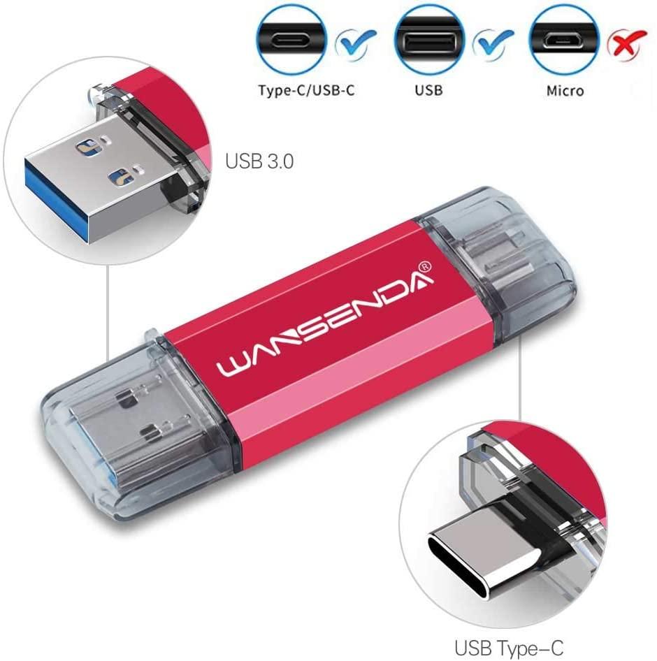 WANSENDA 512GB Type-C USB C Flash Drive USB 3.0/3.1 Thumb Drive Keychain USB Photo Stick (Red)