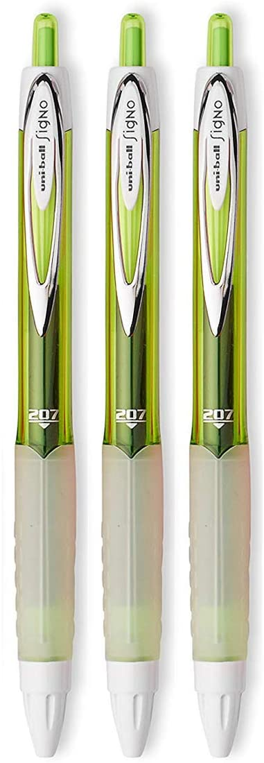 Uni-ball Signo 207 Retractable Gel Pens, Medium Point, 0.7mm, Green Ink, 3 Count