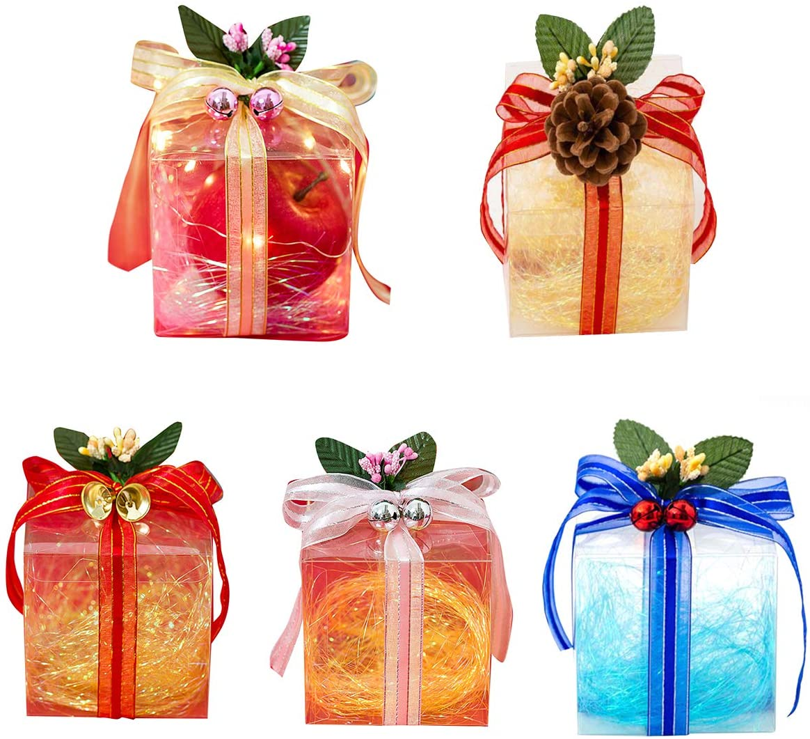 iFCOW Gift Treat Boxes, 10pcs DIY Gift Treat Boxes with Ribbons Transparent Chocolate Candy Box for Party Wedding Christmas 3.94x3.94x3.94in