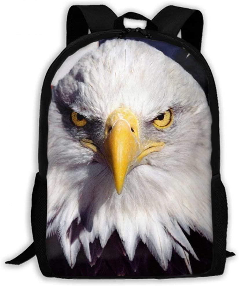 NiYoung Men Women Teens Big Capacity Travel Laptop Backpack Durable Water Resistant College School Bookbag Business Computer Bag, Bald Eagle and American Flag