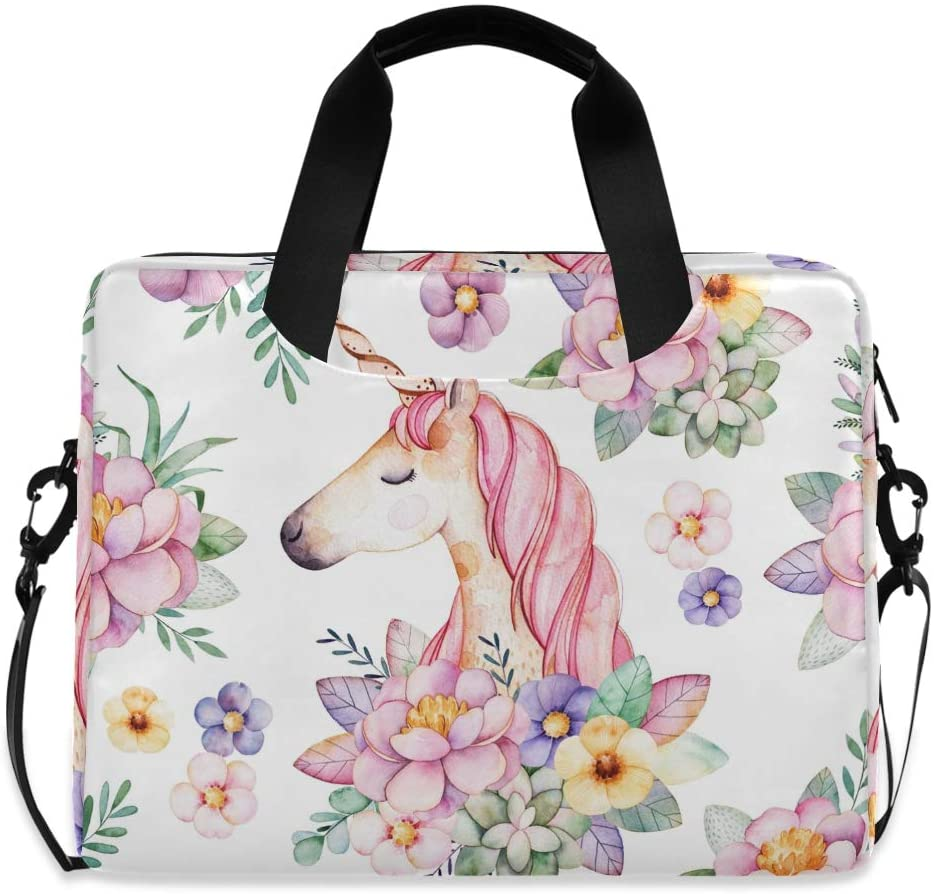 MAHU Laptop Case Bag Watercolor Animal Unicorn Floral Leaves Laptop Sleeves Briefcase 13 14 15.6 inch Computer Messenger Bag with Handle Strap for Women Men Boys Girls