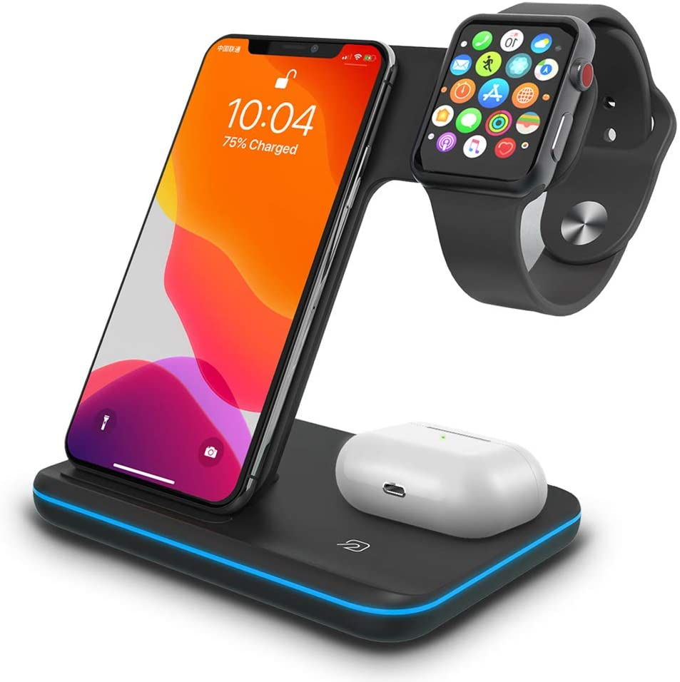 Wireless Charger 3 in 1 Charging Station for Latest Airpods iPhone and iWatch, Wireless Compatible with iPhone 11 Series/XS MAX/XR/XS/X/8/8Plus/ Apple Watch Charger 5 4 3 2 1 Airpods 3 2 /Samsung