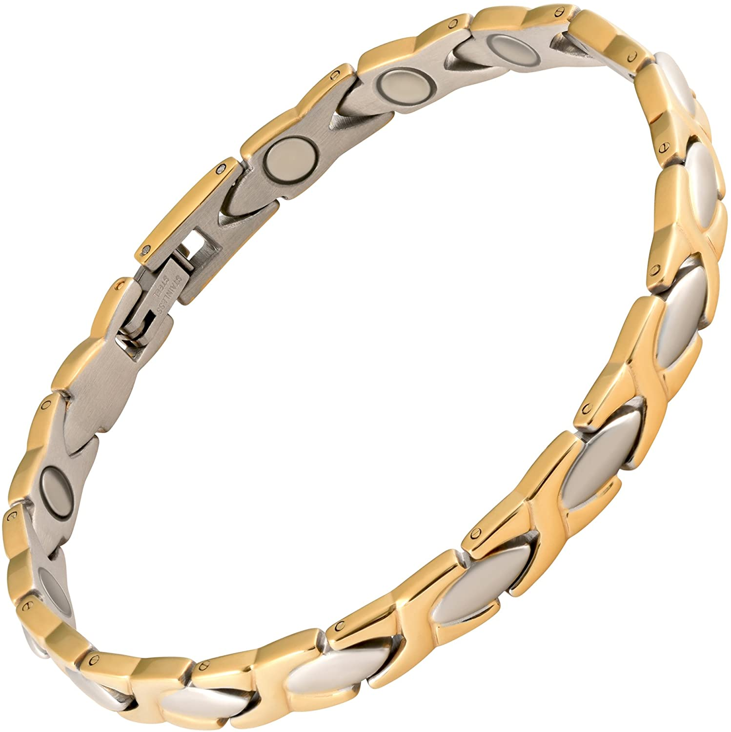 MAGNETJEWELRYSTORE Magnetic Therapy Bracelet Stainless Steel 2 Tone XOXO