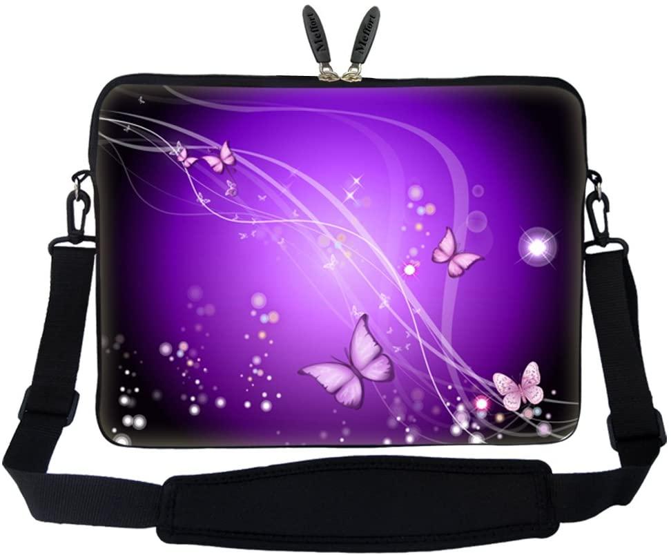 Meffort Inc 15 15.6 inch Neoprene Laptop Sleeve Bag Carrying Case with Hidden Handle and Adjustable Shoulder Strap - Purple Swirl Mini Butterflies