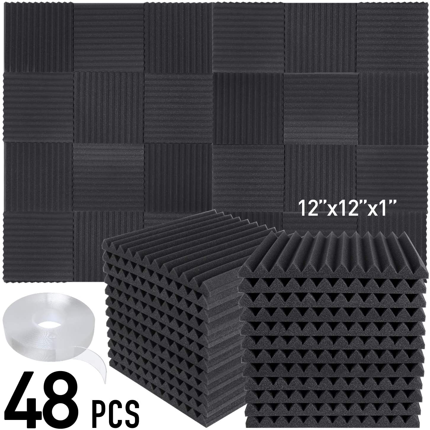 Focusound 48 Packs Acoustic Foam Panels Wedge Soundproof Studio Wall Tiles Sound Absorbing with Double Side Adhesive Tape, 1