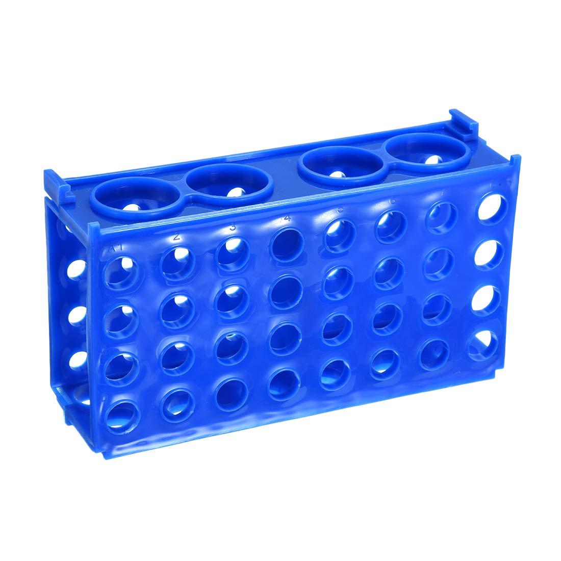 uxcell 2 Pcs 4 Way Tube Rack Polypropylene 80-Well Blue for 0.5ml, 1.5ml, 1.8ml, 10ml, 15ml, 50ml