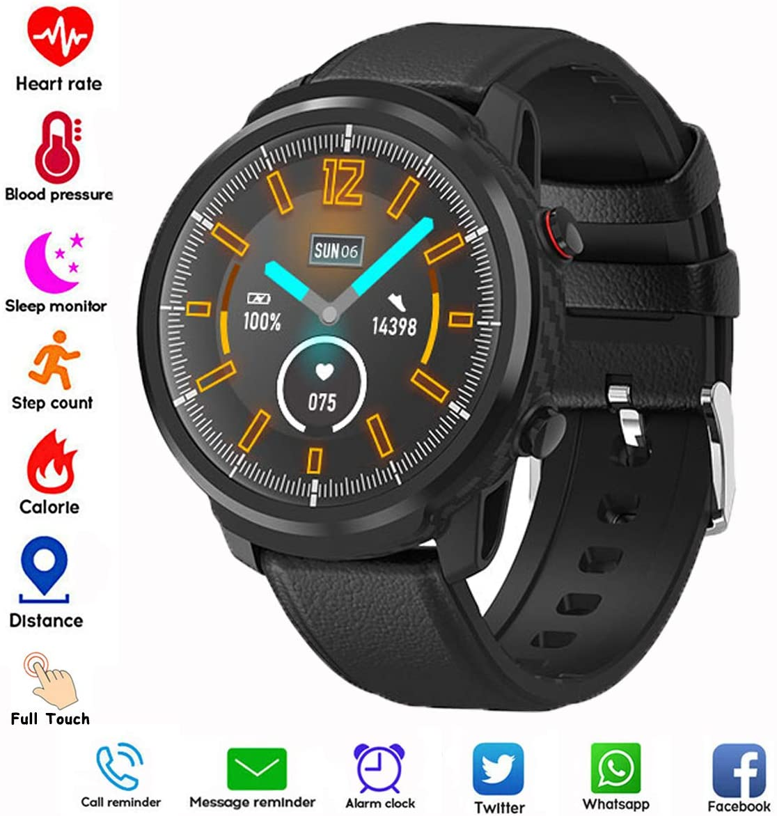 Smart Watch,Android Smartwatch Touch Screen Bluetooth Smart Watch for Android Phones Wrist Phone Watch with SIM Card Slot & Camera with Waterproof (Black + Black Leather Band)