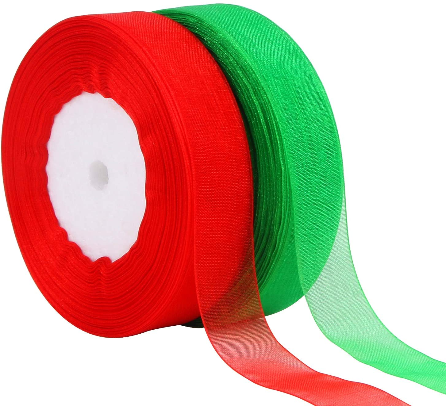 DECYOOL 2 Rolls 100 Yards Christmas Ribbons Organza Holiday Festival Ribbons 4/5