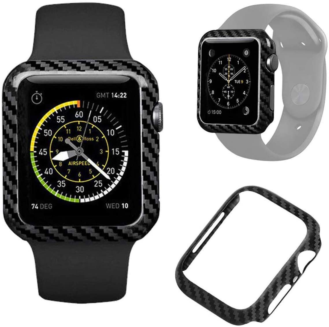 Safedome Carbon Fiber Luxury Watch Case for Apple Watch Series 5/Series 4, Shockproof Durable with Premium High-Gloss Twill Weave Finish (40)