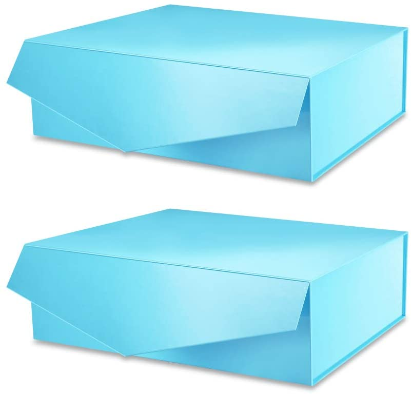 PACKHOME 2 Gift Boxes 14x9.5x4.5 Inches, Large Gift Boxes with Lids, Bridesmaid Proposal Boxes, Sturdy Storage Boxes, Collapsible Gift Boxes with Magnetic Closure (Glossy Blue)