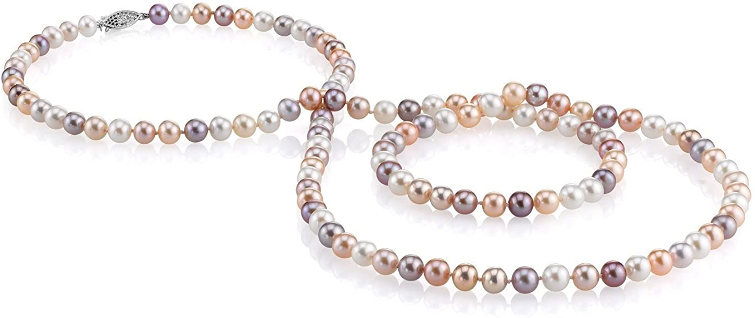 THE PEARL SOURCE 14K Gold 7-8mm AAA Quality Multicolor Freshwater Cultured Pearl Necklace for Women in 36