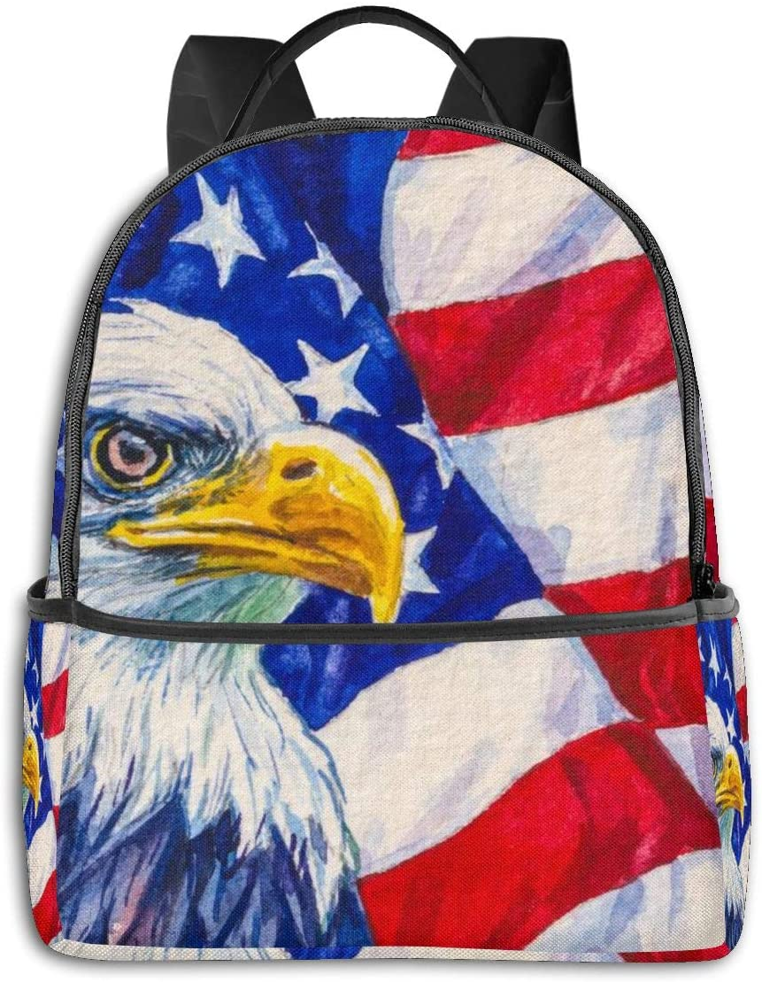 Dujiea American Flag Eagle Kids Backpacks for School Rucksack Cute Bookbag for Laptop, Men Casual Outdoor Daypack Travel Backpack for Kids 1th- 6th Grade Girls Boys College Unisex Adults