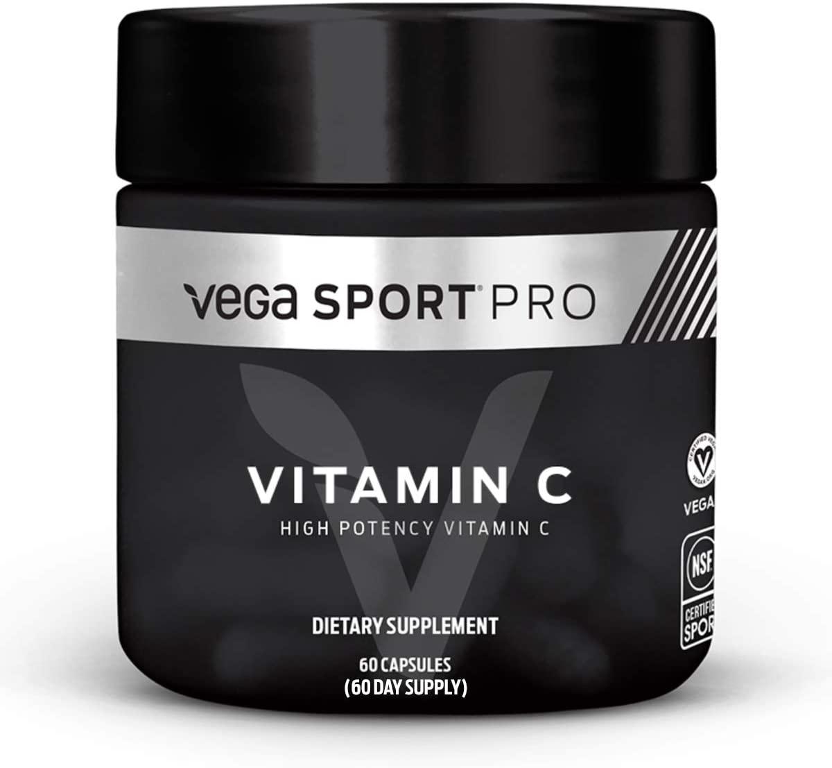 Vega Sport Pro Supplements, Vitamin C (60 Capsules) - NSF Certified, Certified Vegan, Gluten Free Pills