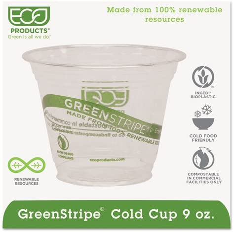 ECOPRODUCTS EPCC9SGS GreenStripe Cold Drink Cups, 9oz, Clear, 1000/Carton