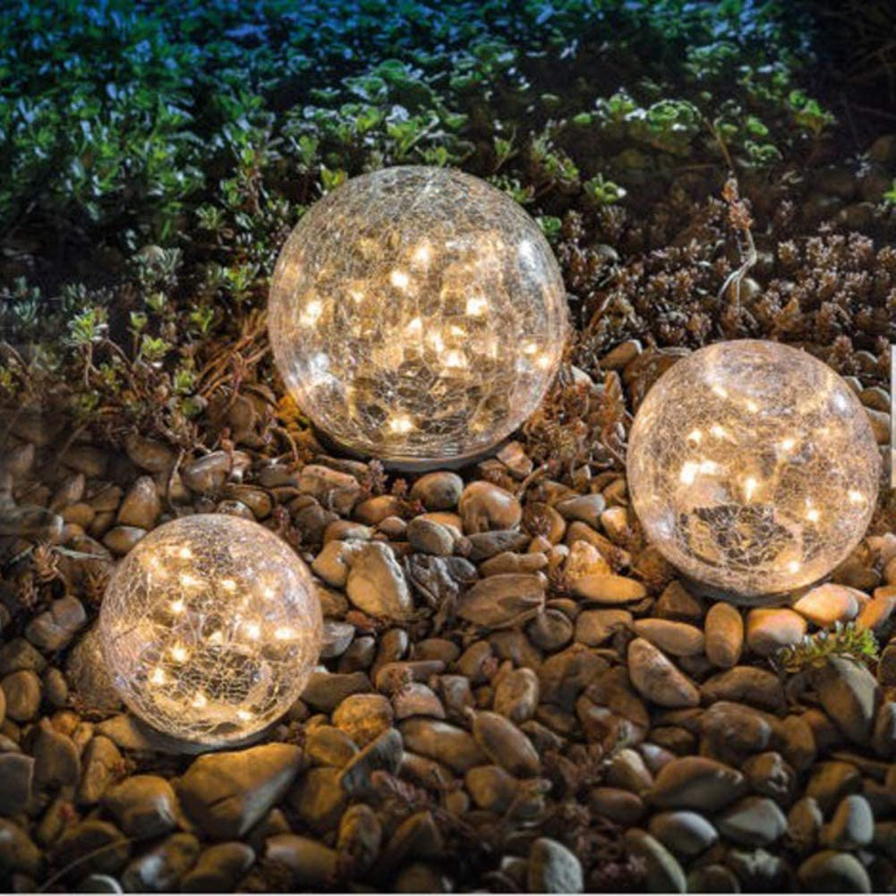 Garden Solar Lights, Cracked Glass Ball Waterproof Warm White LED for Pathway Walkway Patio Yard Lawn, 1 Globe