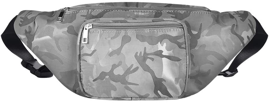 Geestock Leopard Fanny Packs PU Leather Bumbag Women Belt Bag Cute Waist Pack with Adjustable Belt for Rave, Festival, Travel, Party (Camouflage-Grey-Nylon-L)