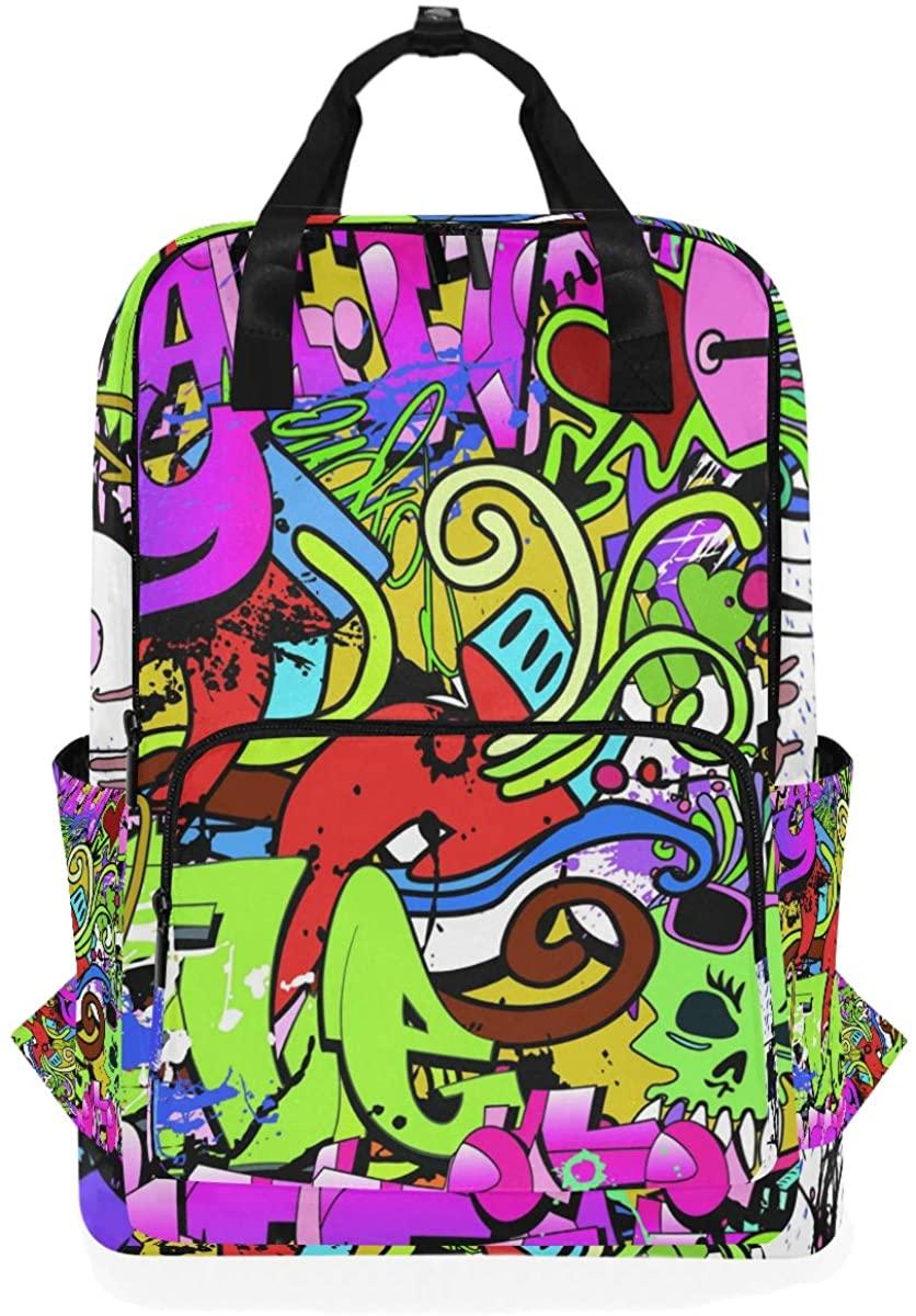Kaariok Graffiti Green Skull Anime Backpack School Travel Daypack Laptop College Bookbag 14 Inch Doctor Bag