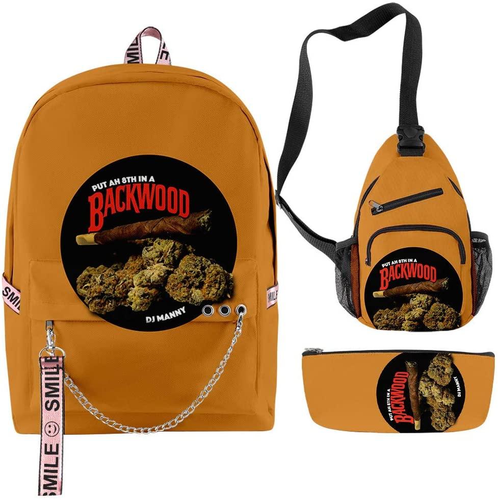 Backwoods Backpack 3Pcs Set Classic Printed School Bag with Laptop Bag Shoulder Bags Pencil Bag 3 in 1 Bookbag for Teen Girls Boys