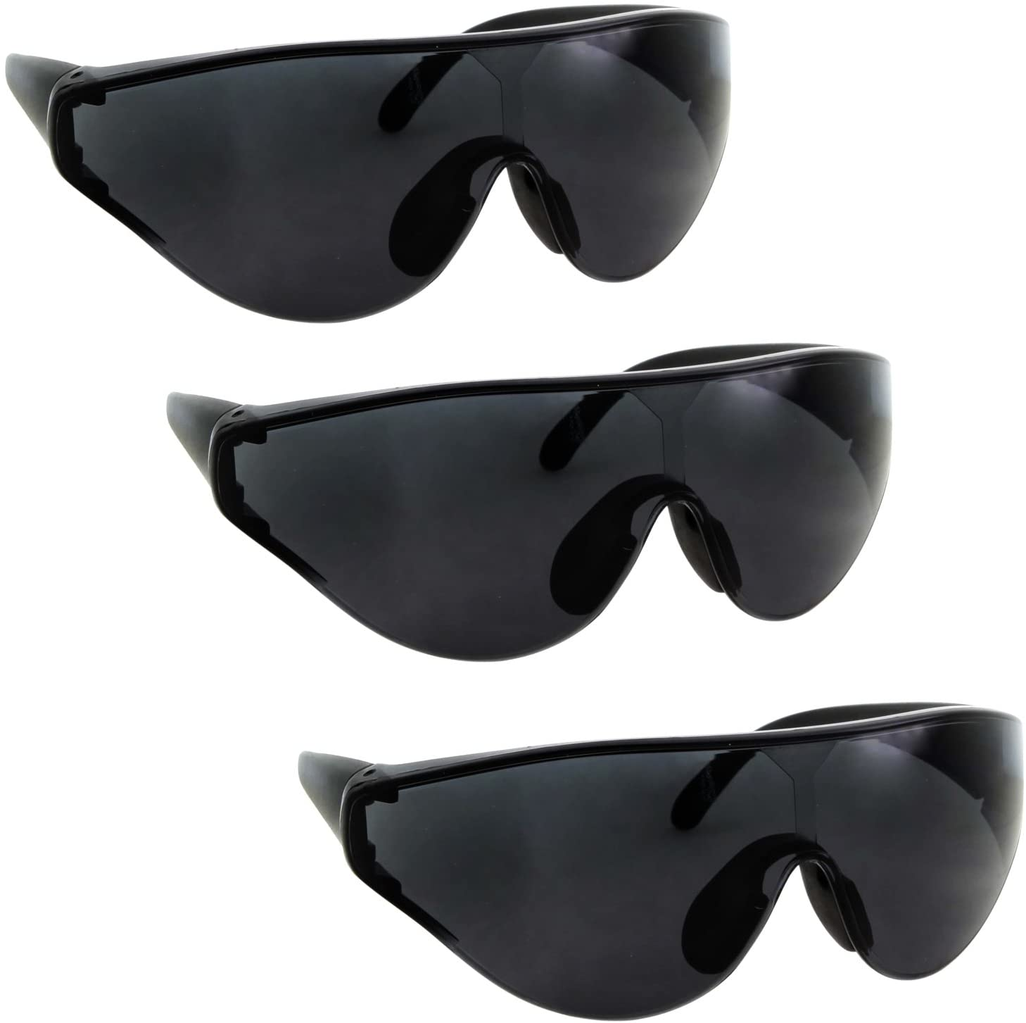 3 Pairs Bulk XL Large Wide Frame Safety & Shooting Glasses Tinted, Clear, Yellow Lens - Black 3 Pack
