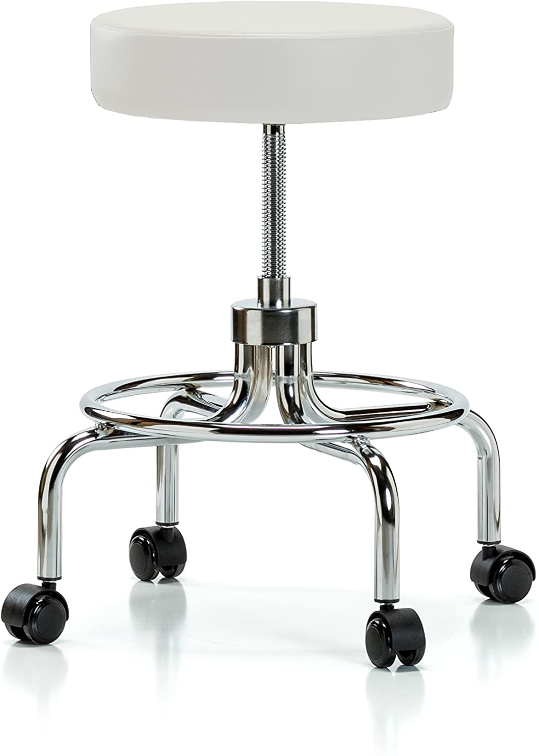 PERCH Chairs & Stools PERCH Rolling Retro Exam Stool with Wheels for Hardwood or Tile Floors, Adobe White Vinyl