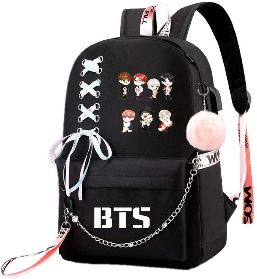JUSTGOGO Korean KPOP BTS Bangtan Boys Backpack Daypack Laptop Bag School Bag Mochila Bookbag