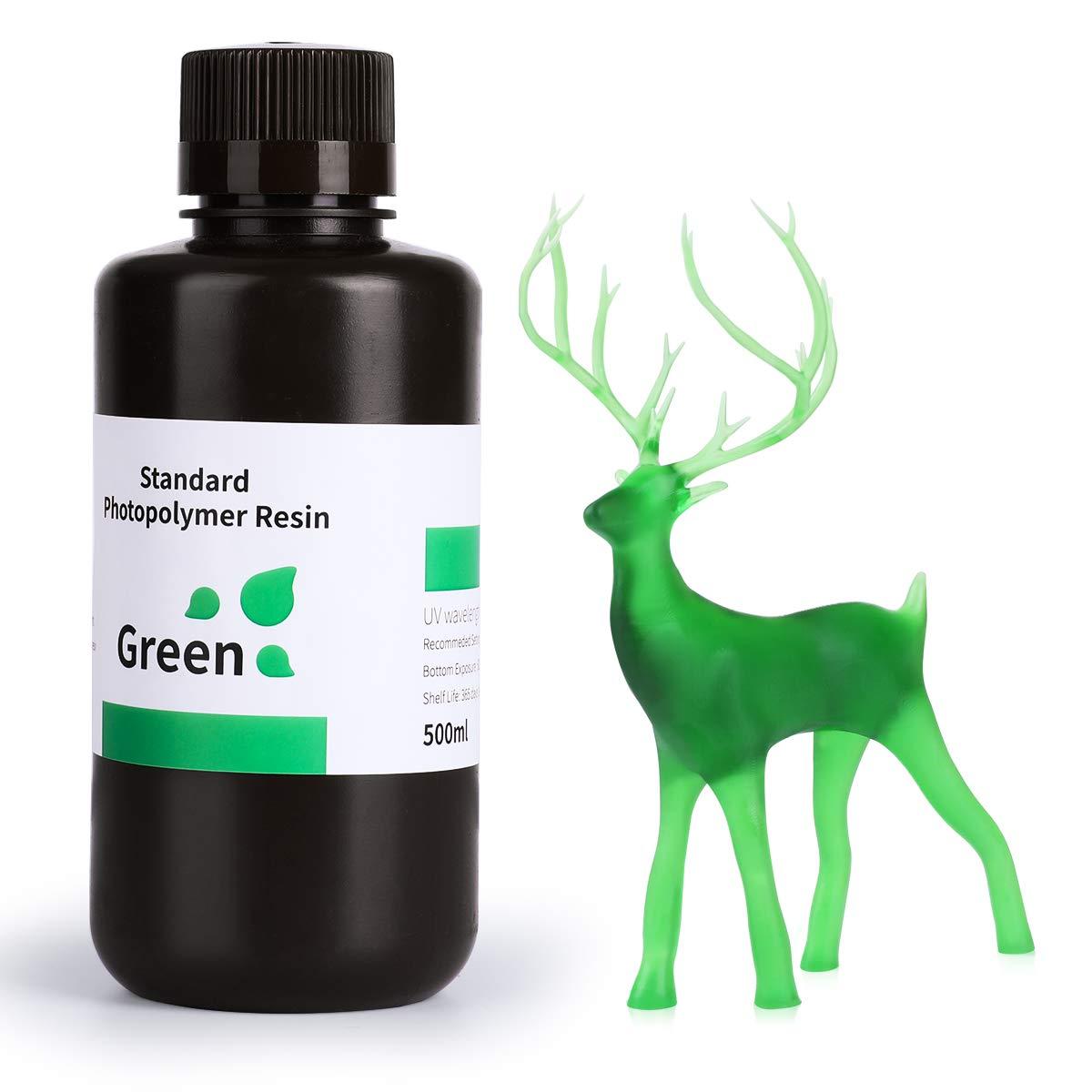 ELEGOO 3D Rapid Resin LCD UV-Curing Resin 405nm Standard Photopolymer Resin for LCD 3D Printing Clear Green 500g
