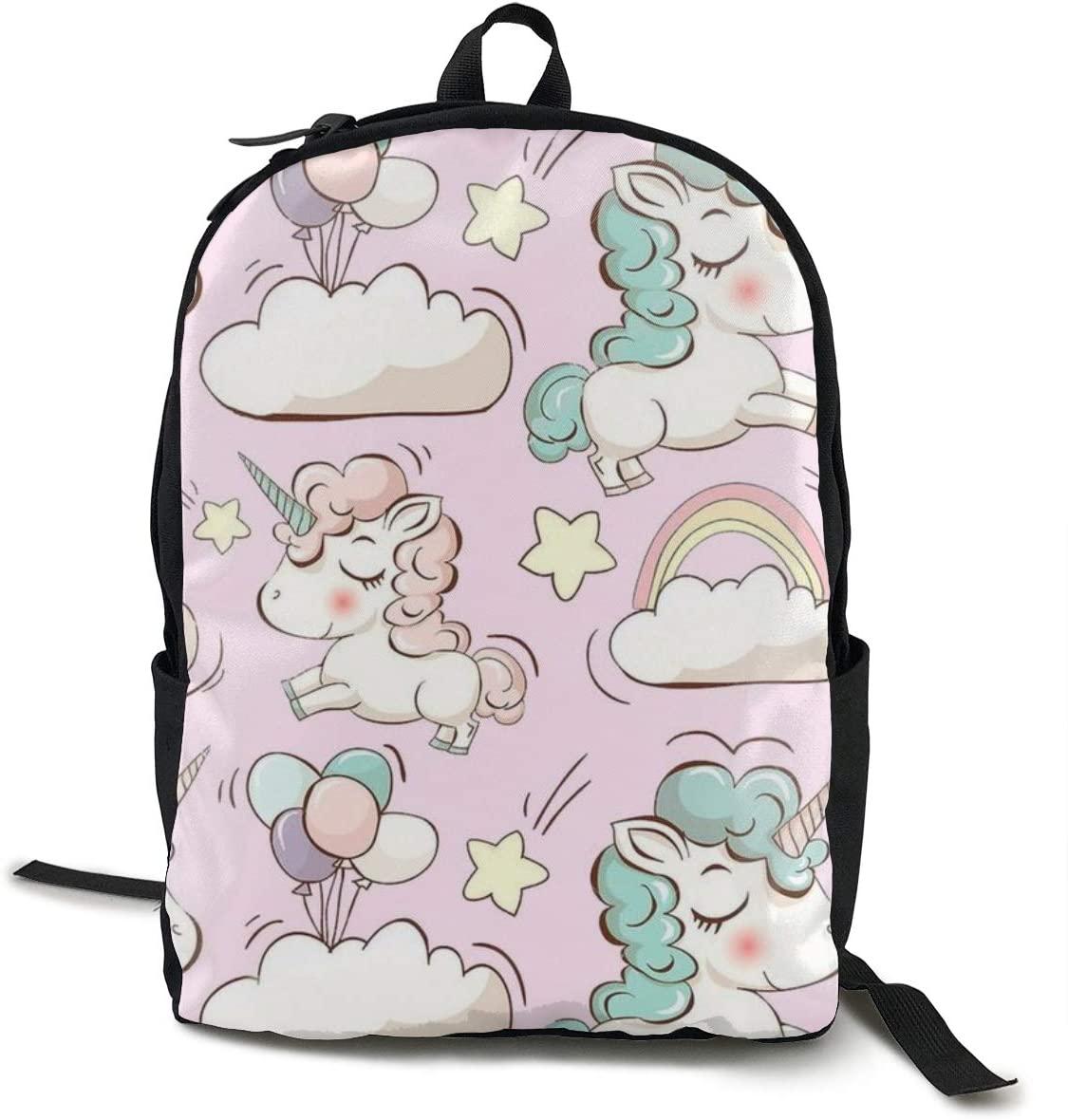 NiYoung Women Men Teens Water Resistant Anti-Theft Laptop Backpack, Travel Business School Outdoor Rucksack Daypack (Cute Unicorn Cloud Ballon)
