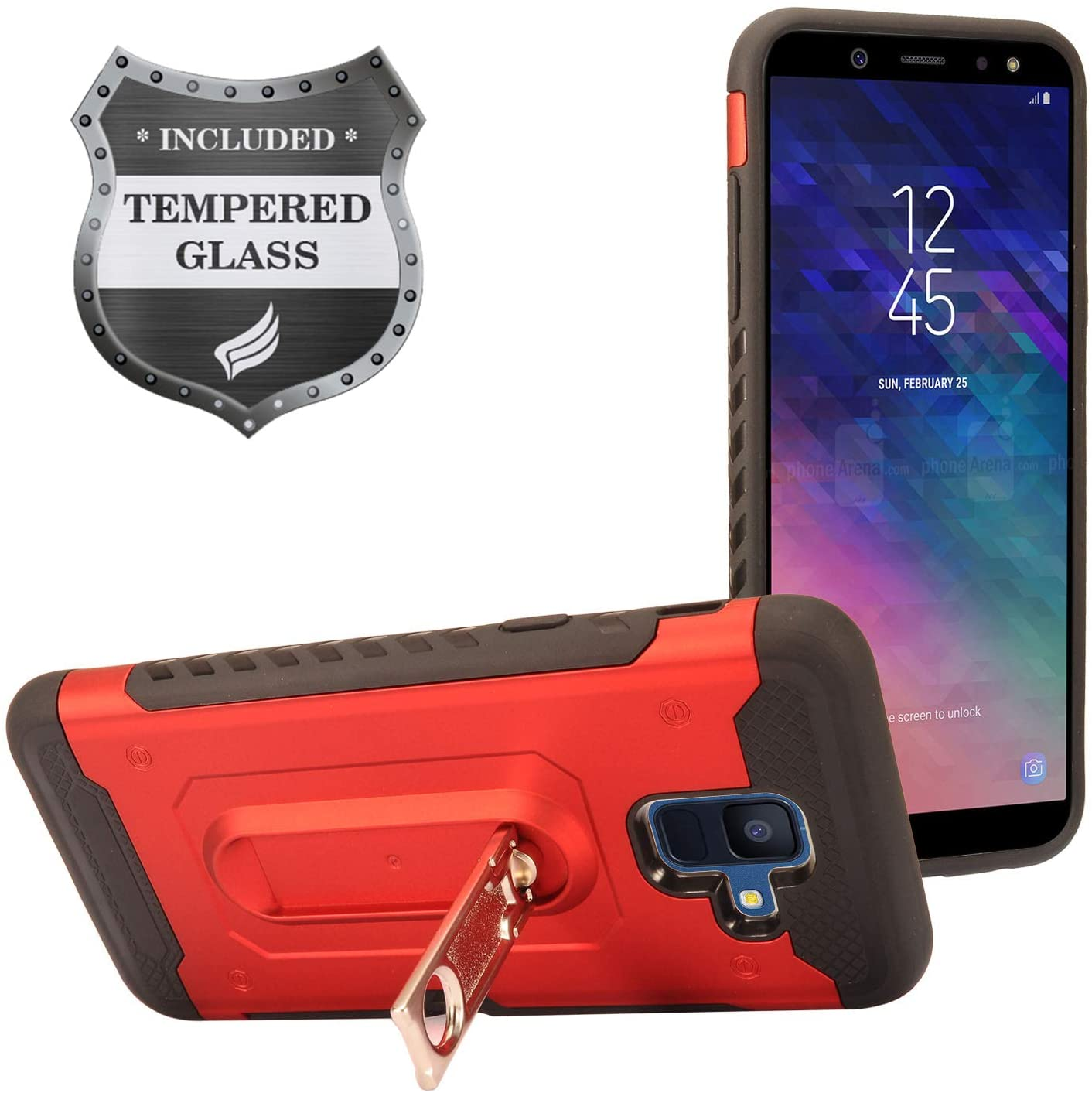 Eaglecell - Compatible with Samsung Galaxy A6 (2018) SM-A600 - Hybrid Case w/Kick Stand/Card Slot + Tempered Glass Screen Protector - ZY4 Red
