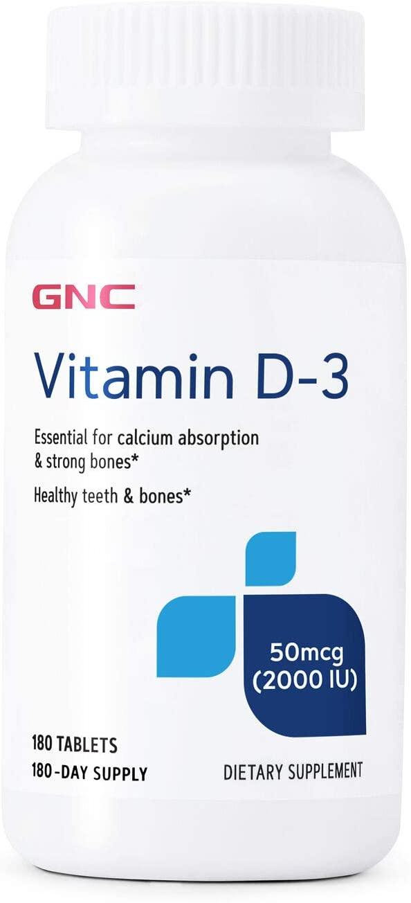 GNC Vitamin D-3 50mcg, 180 Tablets, Supports Healthy Bones and Teeth