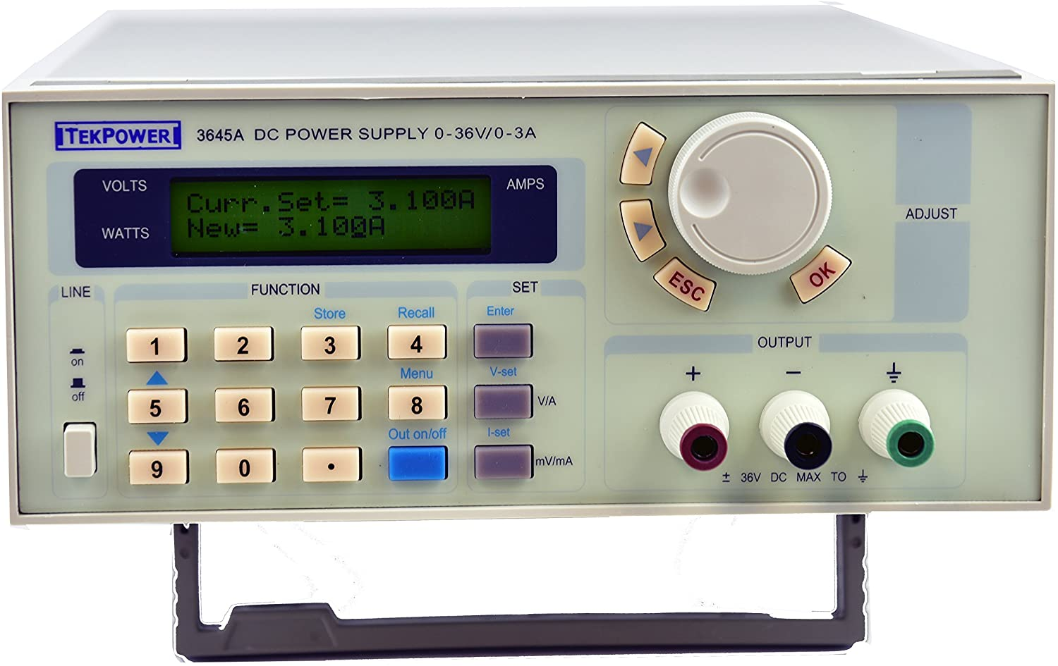 Tekpower TP3645A Programmable Variable DC Power Supply 36V / 3A with USB Connection with Software CD and Mountable Rack