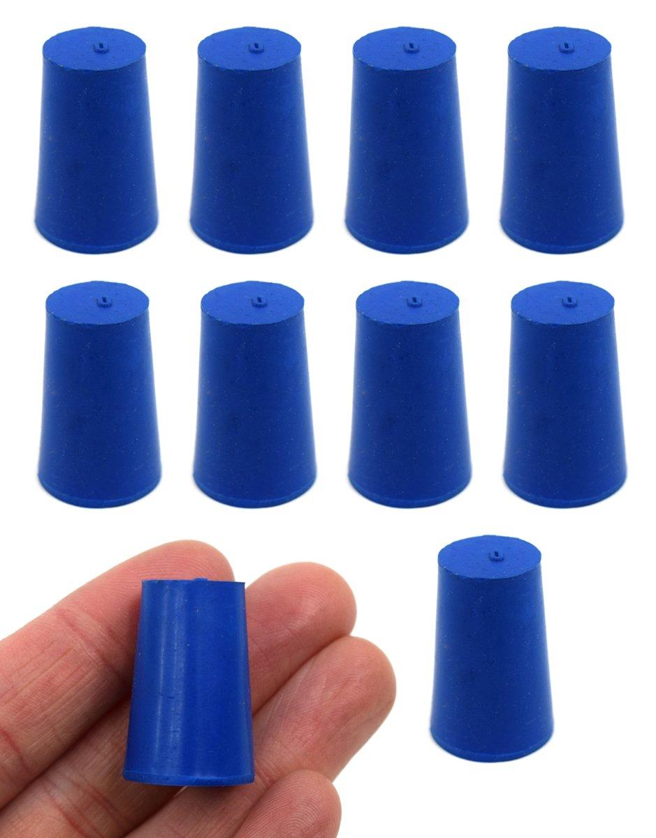 Neoprene Stopper ASTM Solid - Blue ASTM Size: #0-13mm Bottom, 17mm Top, 25mm Length - Pack of 10