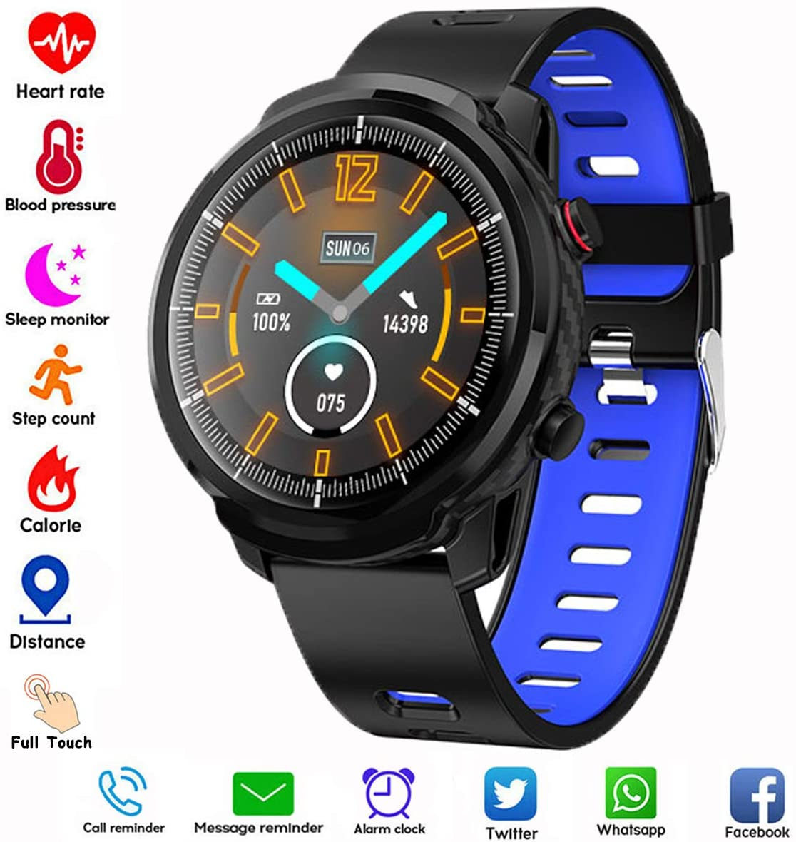 Smart Watch,Android Smartwatch Touch Screen Bluetooth Smart Watch for Android Phones Wrist Phone Watch with SIM Card Slot & Camera with Waterproof (Black + Blue Rubber Band)