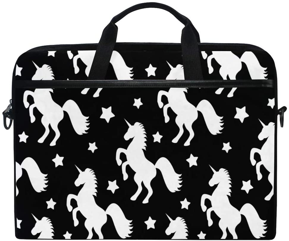 WXLIFE Animal Star Unicorn Pattern Black 13 13.3 14 Inch Laptop Shoulder Messenger Bag Case Sleeve Briefcase with Handle Strap for Men Women Boys Girls