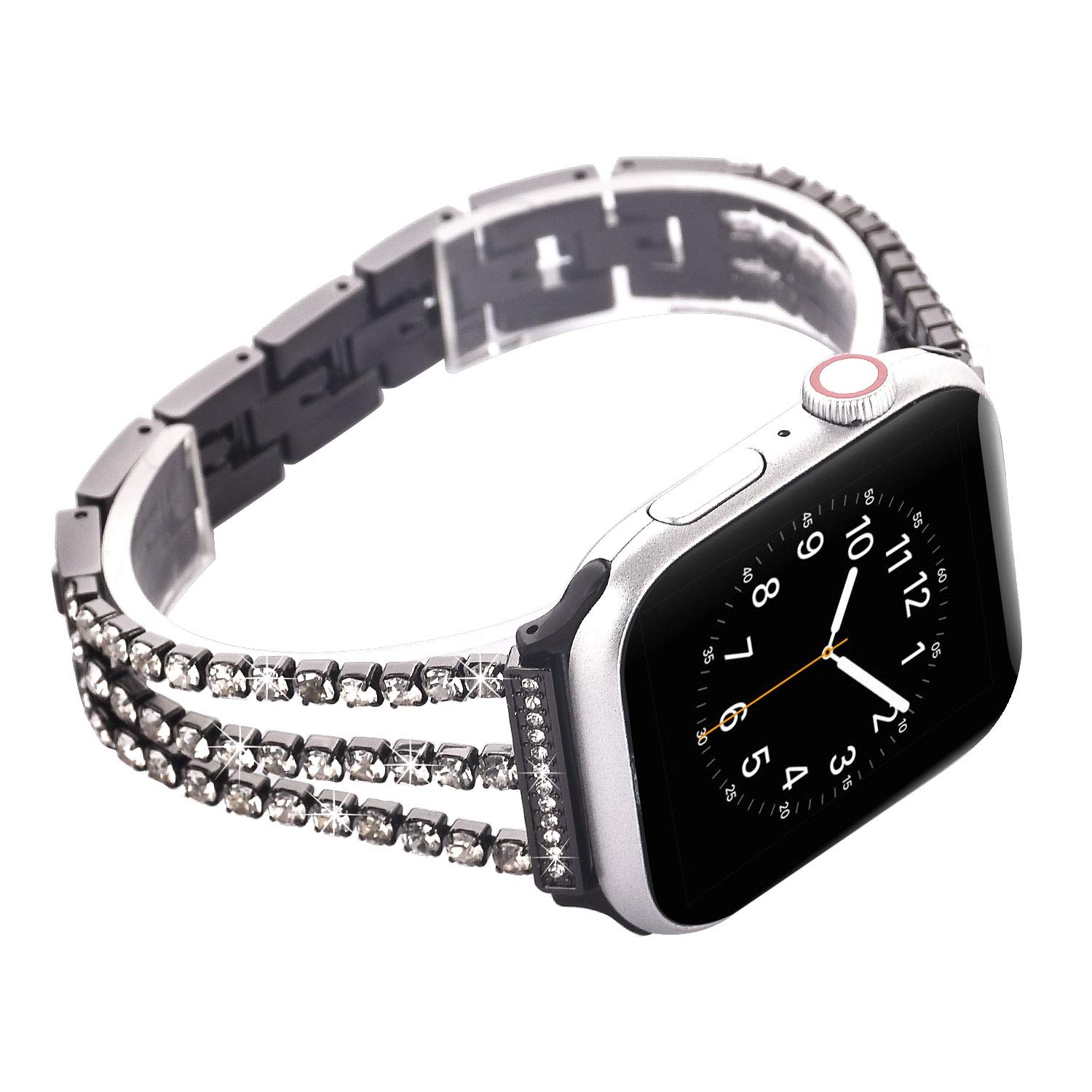 Watch Straps compatible Apple Watch 38mm/40mm,Women Glitter Stainless Steel Band,Black Bracelet with Folding clasps Replacement Wristband for iWactch 40mm Series 4/3/2/1