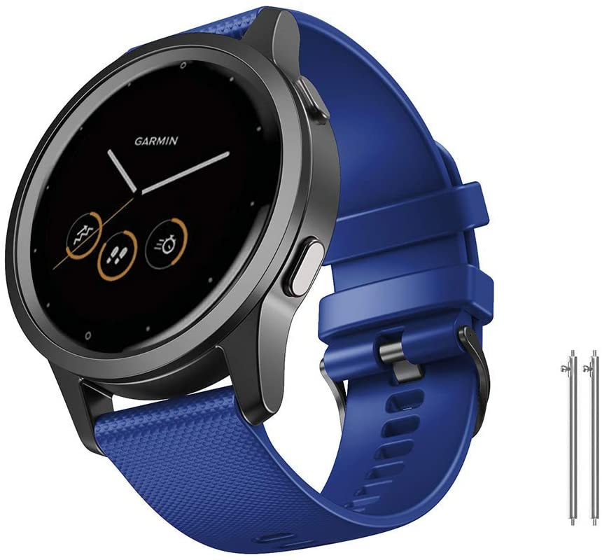 NotoCity 22MM Bands Compatible with Vivoactive 4 GPS Smartwatch Sport Breathable Silicone Watch Strap Replacement for Gear S3 Classic Watch (Dark Blue, Large)