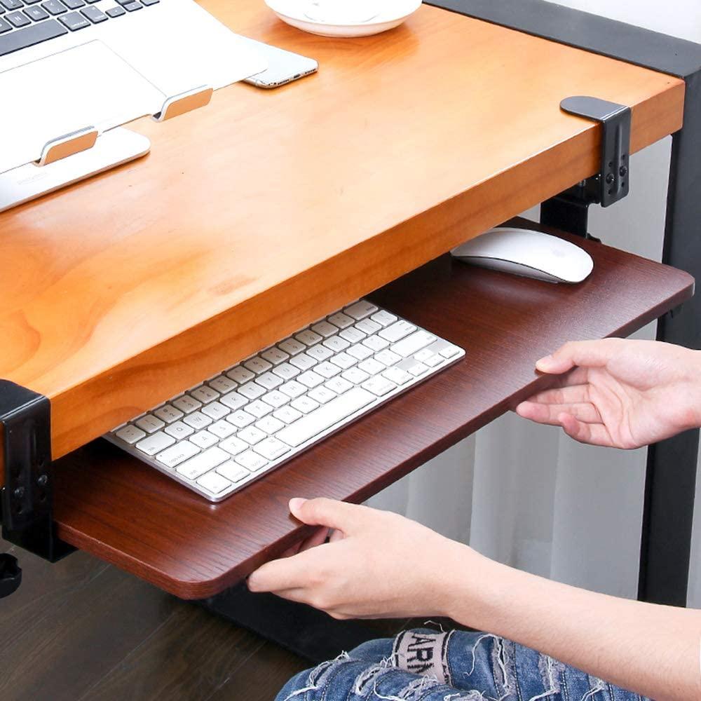 SKYZONAL Keyboard Tray Clamp-On Under Desk Ergonomic Wrist Rest Desk Extender Platform