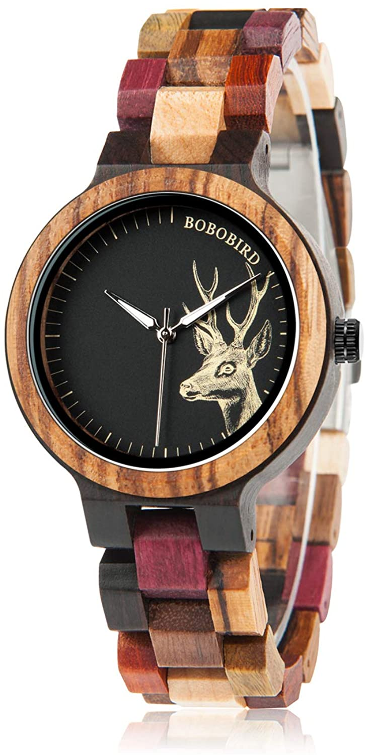 BOBO BIRD Wood Wristwatch Womens Colorful Wooden Watches Casual Quartz Watch Unique Deer Pattern Elegant Ladies Wristwatch