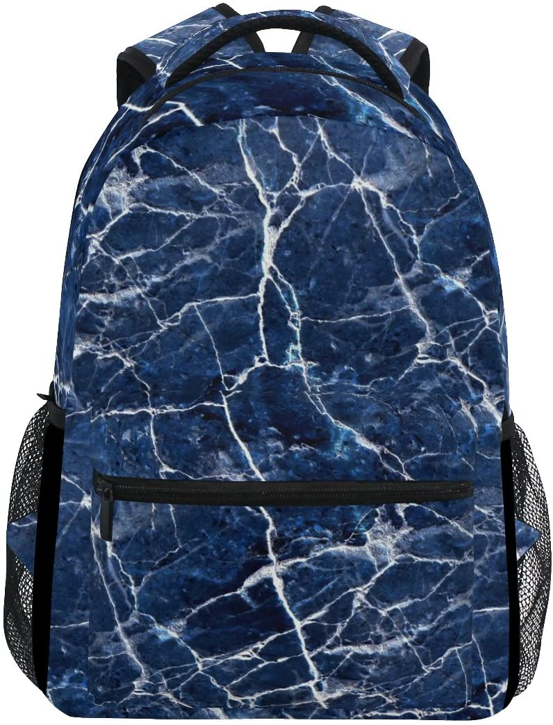 WXLIFE Navy Blue Modern Abstract Marble Backpack Travel School Shoulder Bag for Kids Boys Girls Women Men