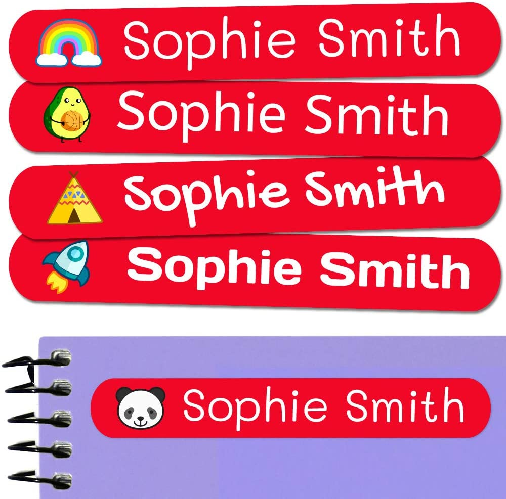 50 Personalized Adhesive Labels, 6 x 1 cm, for Marking Objects, Books, Lunch Boxes, etc. Basic Red Color