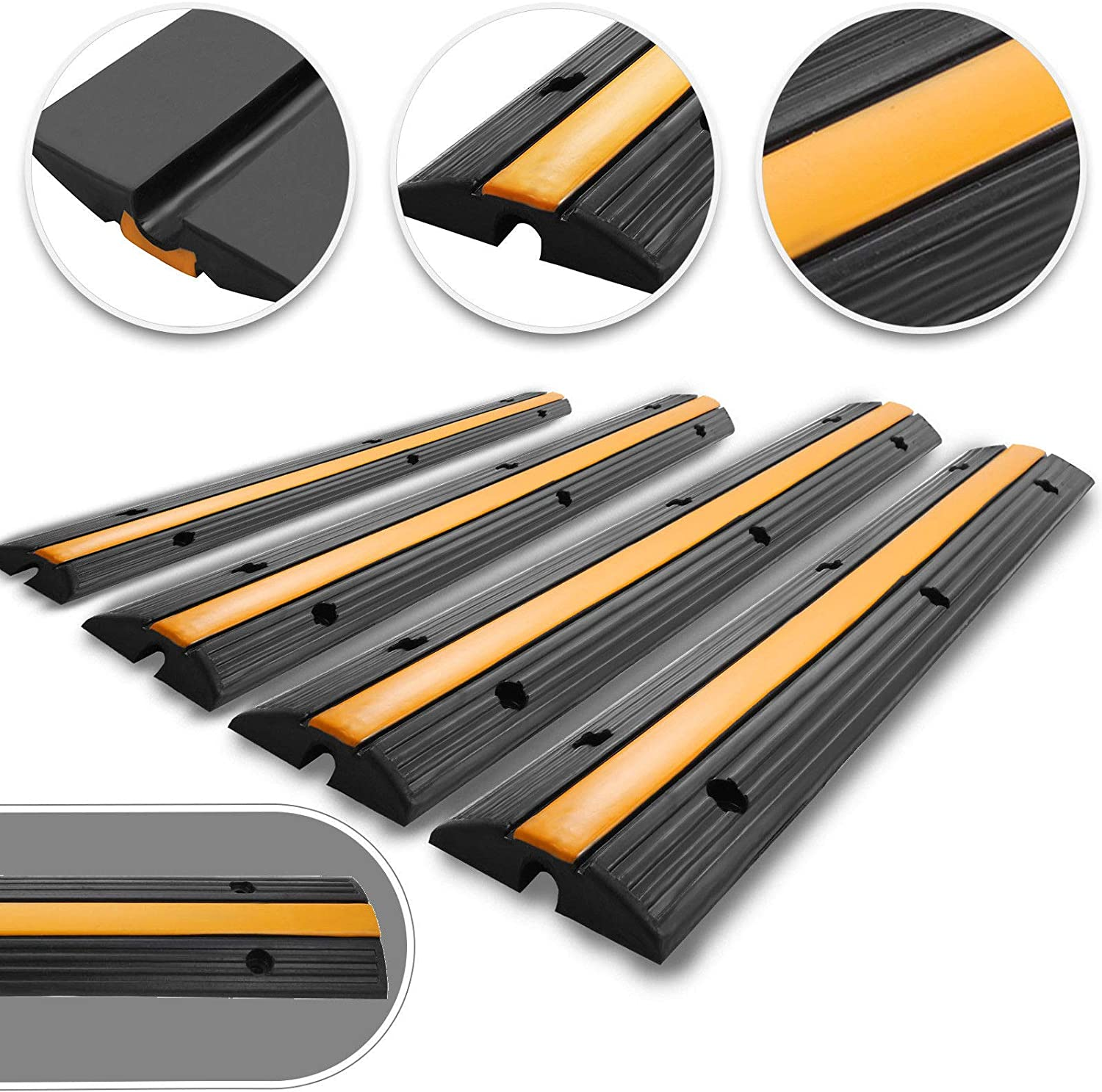 Happybuy 4 Pack of 1-Channel Rubber Cable Protector Ramps Heavy Duty 18000Lbs Load Capacity Cable Wire Cord Cover Ramp Speed Bump Driveway Hose Cable Ramp Protective Cover