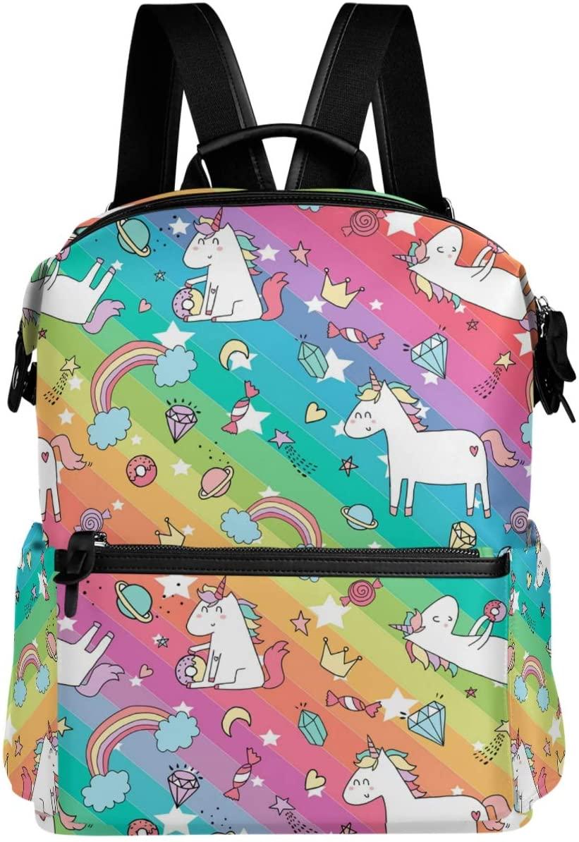 Oarencol Cute Unicorn Dreams Rainbow Stripe Planet Backpack School Book Bag Travel Hiking Camping Laptop Daypack