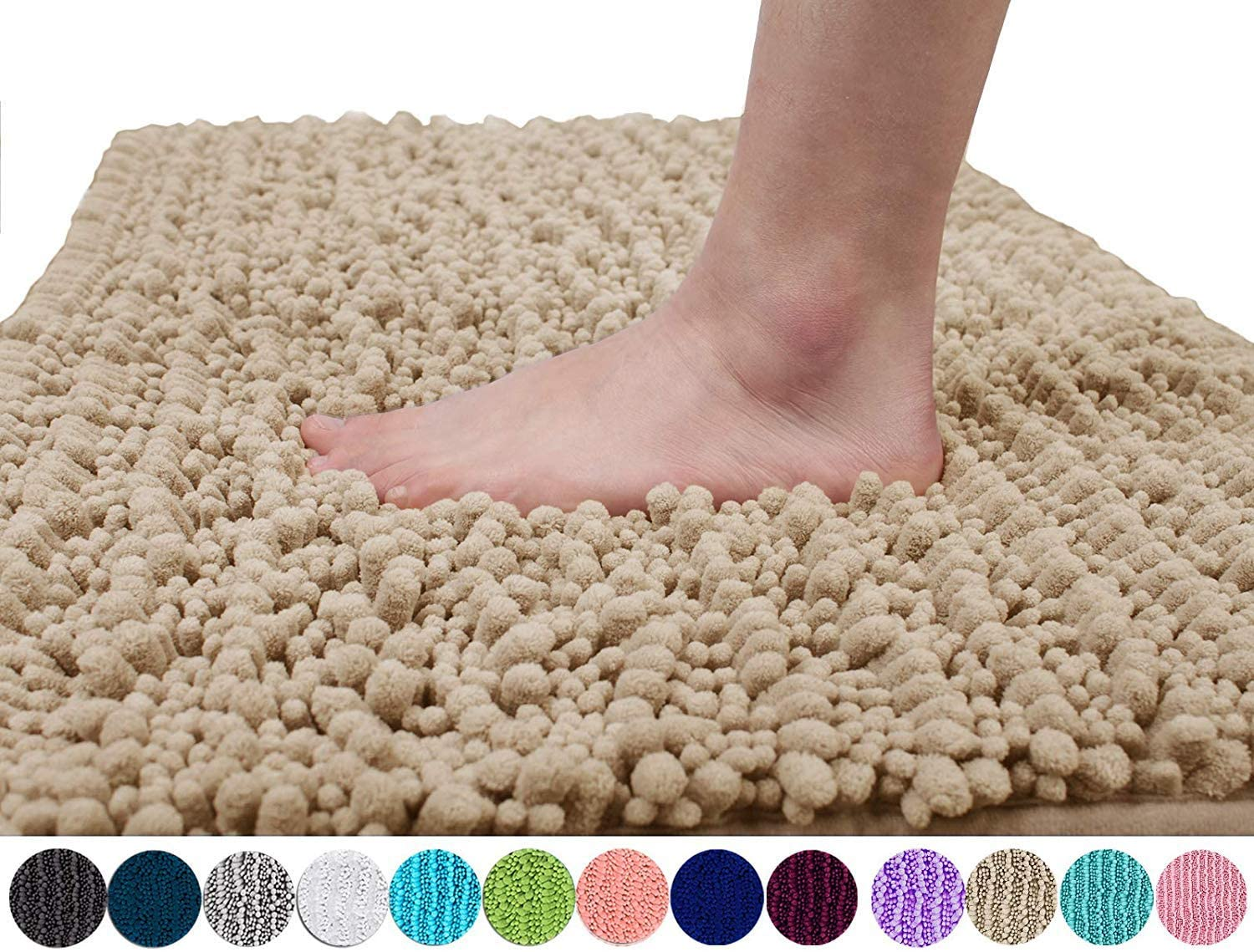 Yimobra Original Luxury Chenille Bath Mat, Soft Shaggy and Comfortable, Large Size, Super Absorbent and Thick, Non-Slip, Machine Washable, Perfect for Bathroom (31.5 X 19.8 Inches, Beige)